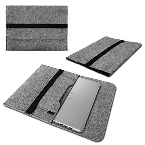 UC-Express Laptop Tasche Sleeve Hülle kompatibel für Acer Swift 1 2 3 5 7 14 Zoll Notebook Ultrabook Case aus Filz in Grau mit praktischen Innentaschen