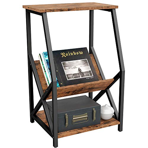 """IRONCK Tall 3 Tier Side Table 22"""" L18 W34.2 H, Record Player Stand with Storage Wood Look Industrial Accent Table, MDF Board with Metal Frame, Vintage Brown"""