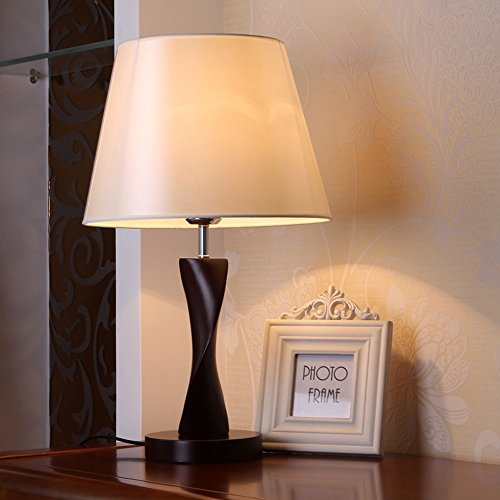 moderna lámpara de mesa lámpara de mesa minimalista dormitorio lámpara de escritorio lámpara de lectura lámpara de madera poste de luz sala de estar (Color : Blanco)