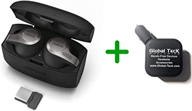 Jabra 65T Bluetooth Headset Earbuds - Evolve 65T 6598-832-109-B   Compatible for Skype for Business, Alexa, Siri, Google Assist   Wireless Bluetooth for Music, PC/MAC (2 Port Charger)