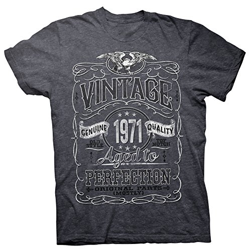 ShirtInvaders 50th Birthday Gift Shirt for Men - Vintage 1971 Aged to Perfection - Dk. Heather-002-Lg