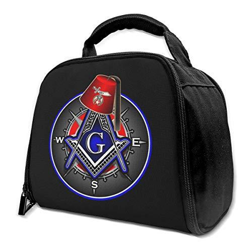li Freimaurer Serie Shriner Fez Freimaurer Kompass Isolierte Tasche Lunch Bag Isolierte Lunch Box Einkaufstasche Kühltasche Für Picknickarbeiten