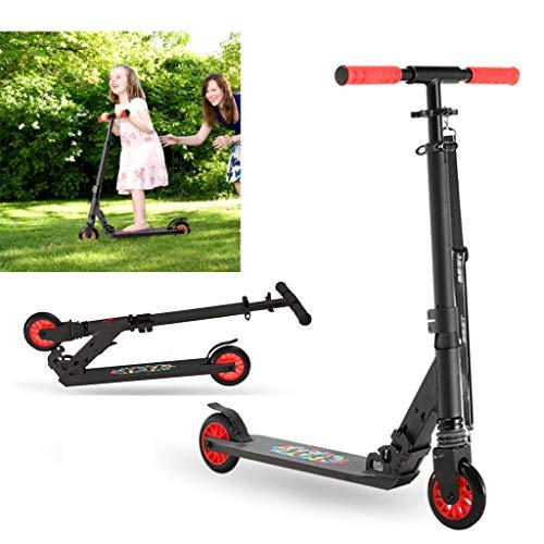 SCOOTER Wheel Kick 120 mm - City, City Roller Plegable y Ajustable en Altura, para Adultos y niños,Freno de Guardabarros Trasero,Negro