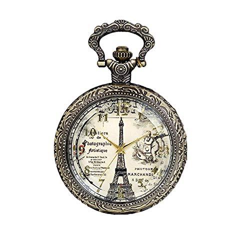 JewelryWe Montre de poche à quartz rétro vintage en bronze avec motif Tour Eiffel et chiffres romains Chaîne de 76 cm Cadeau d'anniversaire (avec sac cadeau)