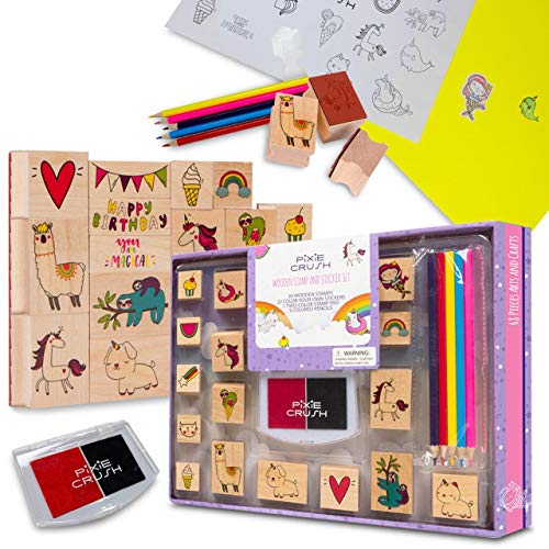 PixieCrush Wooden Stamp and Sticker Activities with Unicorns, Llamas, Kitty Cats, Puppies, Narwhal, and Rainbows. Arts and Crafts Set for Kids, Boys and Girls Toddler Ages 4 5 6 7 8 9 10 Years Old