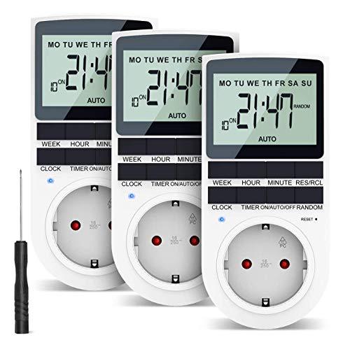 RATEL Digitale Elektronische Zeitschaltuhr Steckdose, 10 Programmierbarer Plug-In-Timer-Schalter mit Reset-Tool, LCD Display und Zufallsmodus für Beleuchtung, Lüfter usw (3er Sets)
