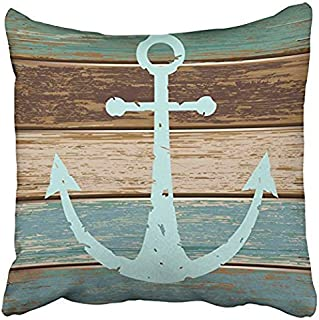 Decorbox Vintage Retro Nautical Anchor Wood Pattern 16x16 Inch Polyester Cotton Square Throw Pillow Case Decorative Durable Cushion Slipcover Home Decor Standard Size Accent Pillowcase Slip Cover