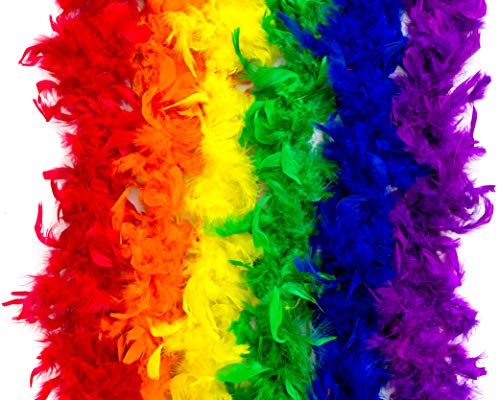 Colorful Rainbow Feather Boas - 6 Pack of 6 Feet Long Boas with Vibrant Colorful Feathers - Great for Costumes, Mardi Gras Outfits, and Party Favors - Ultimate Party Supplies