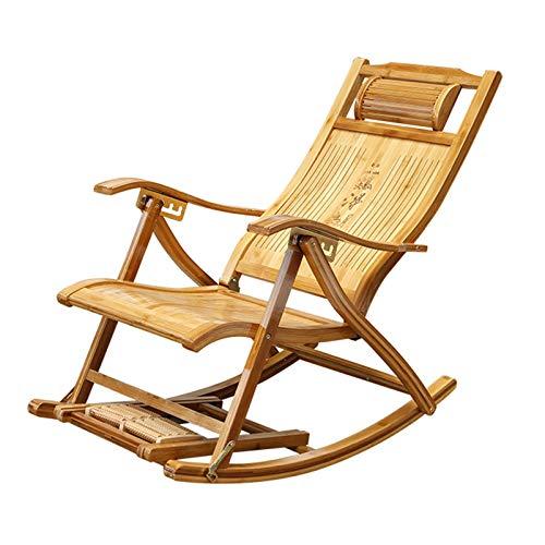 LINGZE Tumbonas Ajustables Mecedora, sillas reclinables de jardín Plegables, sillón de bambú para Patio o Playa, balcón