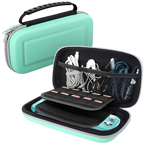 MoKo Carrying Case for Nintendo Switch Lite, Portable Case Hard Shell Upgraded EVA Tough Storage Travel Bag Holder with Grid Pocket for Nintendo Switch Lite Console, Accessory & Game Cards - Turquoise