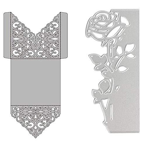 Troquel de Acero al Carbono, 2 Piezas Forma de Flor Troqueles de Estampado Plantillas para Scrapbooking Suministros Hacer Tarjetas - Forma de Rosa/Sobre