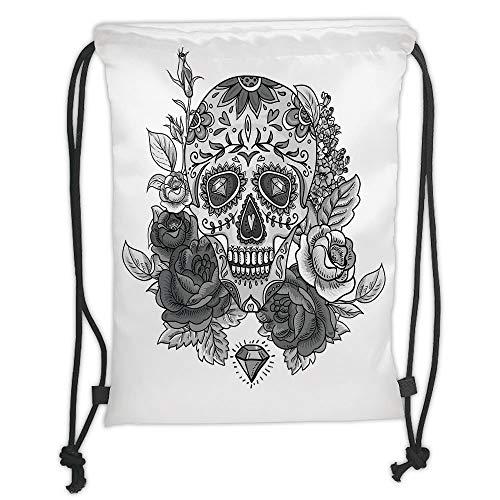 Drawstring Backpacks Bags,Sugar Skull,Monochrome Skull with Roses Leaves and Diamond Shape Folklore Festival Print Decorative,Grey White Soft Satin,5 Liter Capacity,Adjustable STRI