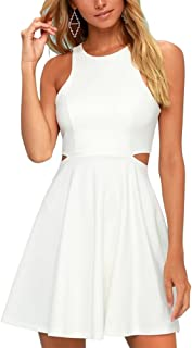 BELONGSCI Women Sweet and Cute Sleeveless Racerback Flared Swing A-Line Waist Hollow Out Summer Short Dress