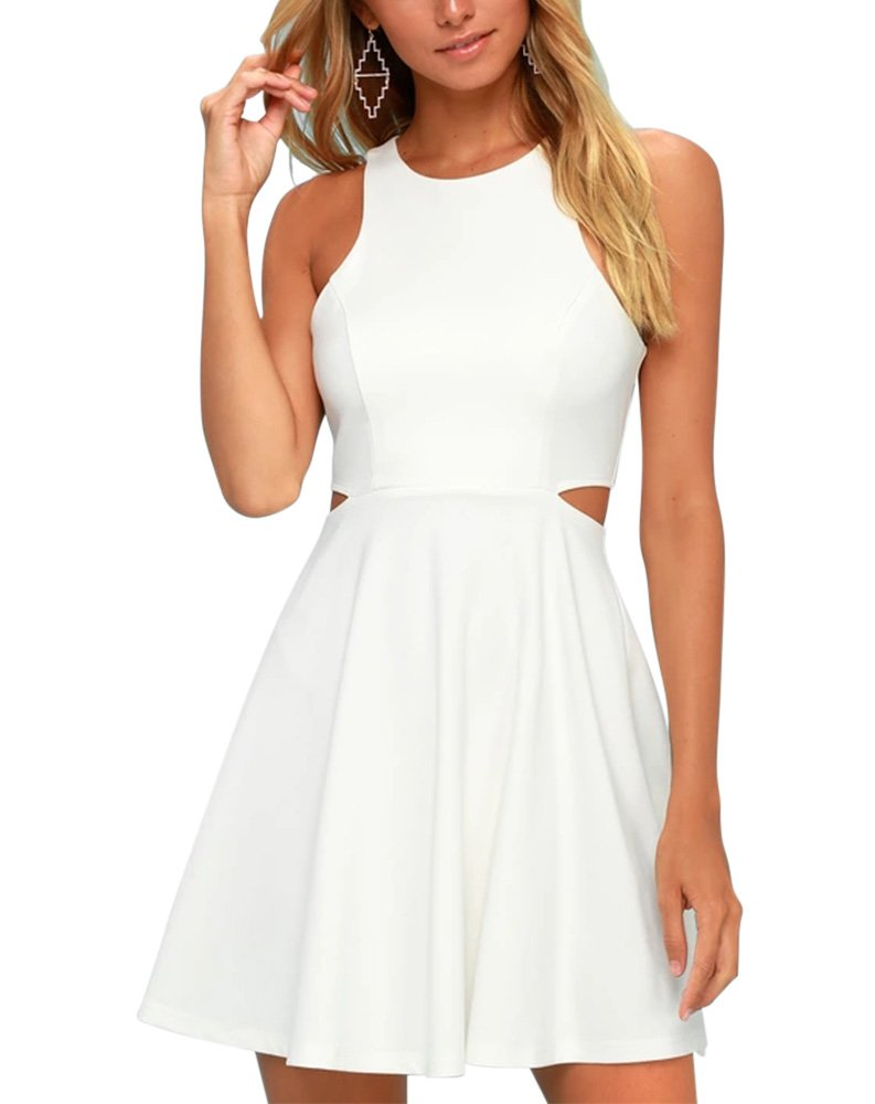 White Dress - Women's Stretchy A Line Swing Flared Skater Cocktail Party Dress
