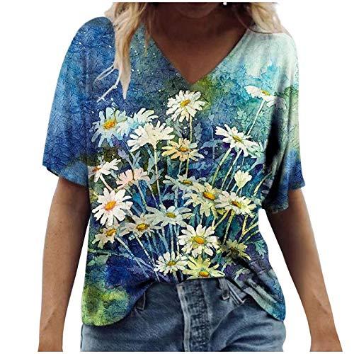 Fmkaieo Tee - Camiseta de mujer con estampado floral de paisajes a la moda, cuello en V, suelto, blusa informal, de moda, acogedora, para mujer