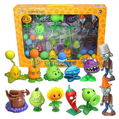 Yzoncd Plantas Vs.Zombie Toys Juego Completo De Figuras De Acción De Anime De Silicona Suave De Expulsión para Niños para Niños