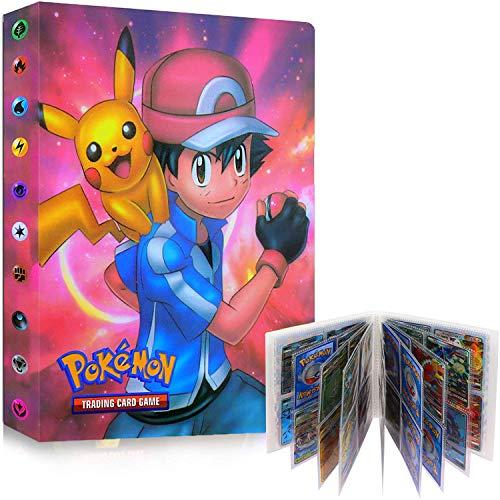 JAHEMU Álbum de Pokemon Tarjetero Pokémon Álbum de Cartas Coleccionables Pokémon Álbum de Tarjetas Carpeta de Álbum Pokemon 30 Páginas con Capacidad para 240 Tarjetas