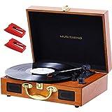 JORLAI Tocadiscos de Vinilo Recargable de 3 velocidades Maleta Portátil con 2 Altavoces Integrados, Soporte Vinyl-to-mp3 Grabacion/Auriculares/Entrada AUX/Salida RCA (Azul) (M316W-EU)