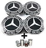 LIBRA 4 Tapas Tapa del buje Logotipo de Mercedes Benz 75mm Hoja de Oro Negro para los Tacos Llantas de aleación - Clase A B C E CLA CLK - Cubierta de válvula de válvula para Llantas Gratis