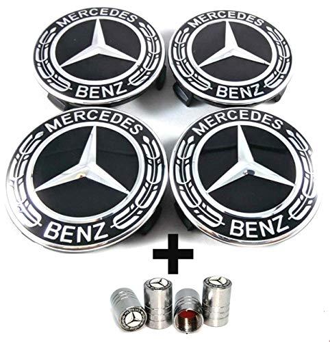 Libra Mercedes Benz logo wieldop 75 mm zwart alloro blad aluminium velgen - klasse A B C E CLA CLK - ventieldoppen gratis