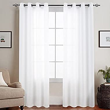 White Semi Sheer Curtains Bedroom Casual Weave Linen Look Privacy White Heavy Sheer Curtain Set Living Room 95 inches Length, 2 Panels