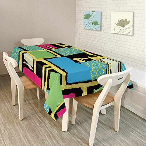 Alayth Manteles ULE Mesa Rectangular Mantel 3D para Cocina Mantel De Poliéster Impermeable para Bodas Cuadrados De Colores Mosaico Patter-150cmx210cm_Color1