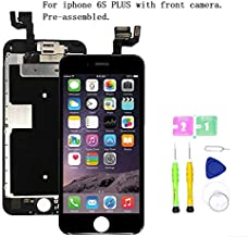 Screen Replacement Compatible with iPhone 6S Plus Full Assembly - LCD 3D Touch Display Digitizer with Front Camera, Ear Speaker and Sensors, Fit Compatible with All iPhone 6S Plus (Black)