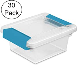 Sterilite Mini Clip Plastic Storage Box Clear w/Blue Aquarium Latches (30 Pack)