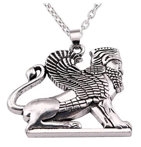 Anhänger Löwe Winged HOMA in Perser (Griffon) Empire Persien. Anhänger Stahl Dein Geld und Kette. Trés Jolie Stück.