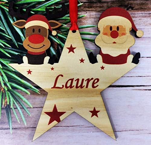 legno Palle di Natale Personalizzate con Nome - Palla per Albero di natale personalizzabile - pallina di Natale personalizzata - decorazione natalizia - Decorazione Natalizia in Legno Naturale - DSEt