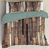 Juego de ropa de cama para niños, de madera, ligera, funda de edredón rústica, diseño de granja y casa rural, color marrón