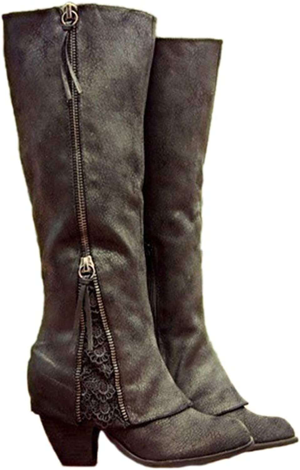 Winter Women Fashion Riding Boots Fold Over Design Near The Ankle with Lace Detailing at Edge Plus Size Boots