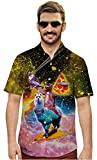 Goodstoworld Pizza Cat Shirts Mens Galaxy Button Up 3D Alpaca Rainrow Printed Music Party T Shirt Sloth Male Blouse Clothes Polo Dress Summer Shirt
