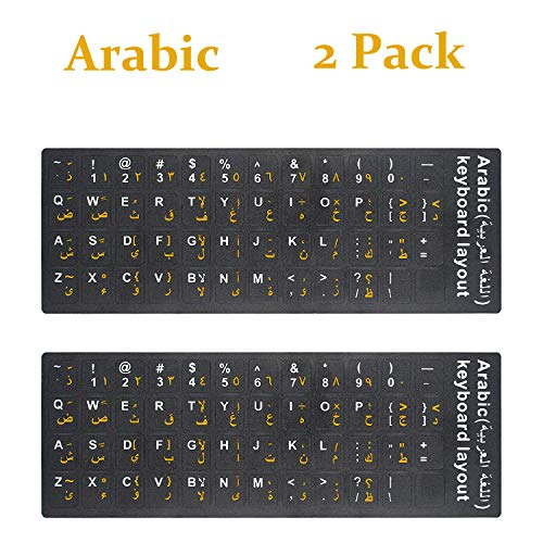 2PCS Pack Arabic Keyboard Stickers, Arabic English Keyboard Replacement Sticker with Black Background and Orange White Lettering for Computer Notebook Laptop Desktop Keyboards