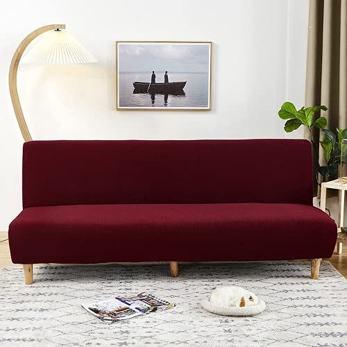OKJK Funda de sofá sin Brazos Impermeable, Funda de Asiento de sofá Cama sin Brazos de Color sólido para Sala de Estar, Tela Suave y cómoda, Antimanchas (Wine Red,Sofa Head 190-210cm)