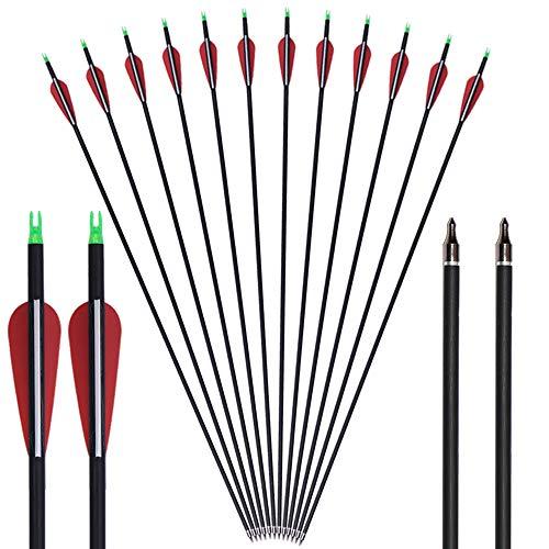 DZGN 30' de Tiro con Arco de Carbono Flechas de Madera de Grano del Eje 500 Spine with5 Pluma Fletching para el Disparo Hunting Target,6pack