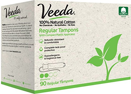Veeda 100% Natural Cotton Compact BPA-Free Applicator Tampons Chlorine, Toxin and Pesticide Free, Regular, 90 Count