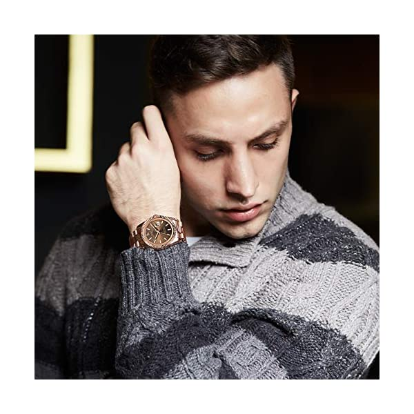 BUREI Mens Watches Luxury Analog Quartz Wristwatch Rose Gold Dial Calendar Display Sapphire Crystal with Stainless Steel Band