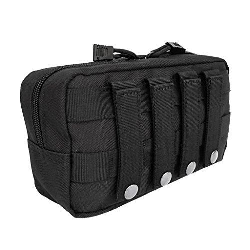 MagiDeal Poche Portable Sac Outil Premier Secours Molle Utilitaire Fermeture à Glissière Housse Étanche - Noir, 23x14x7.5cm