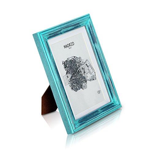 Marco de Fotos Vintage de 13 x 18 cm con Paspartú para Foto de 10 x 15 cm - Shabby Chic Originales - Madera de Pino - 1 Marco - Anchura del Marco 2 cm - Frente de Vidrio - Color Turquesa y Plata