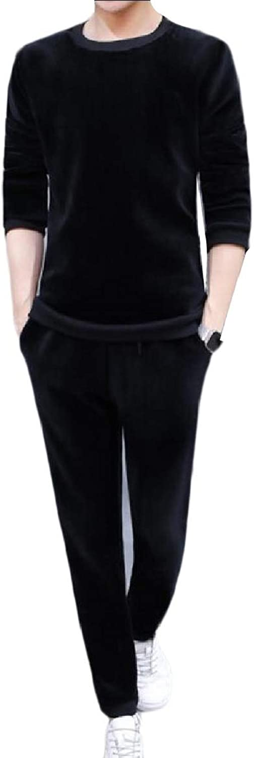 TaoNice Mens 2Piece Warm Athletic Velvet Jogger Autumn Tracksuit Outfit