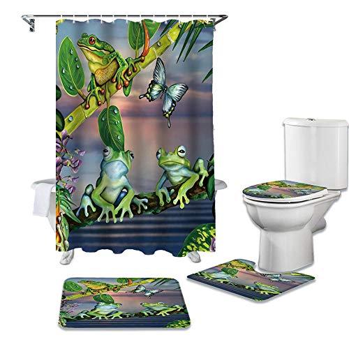ZGDPBYF 4-Piece Shower Curtain Set Cartoon Animals Green Leaf Branch Frog Waterproof Shower Curtains Bathroom Decor Bathroom Set with Shower Curtain- 4-Piece_Set