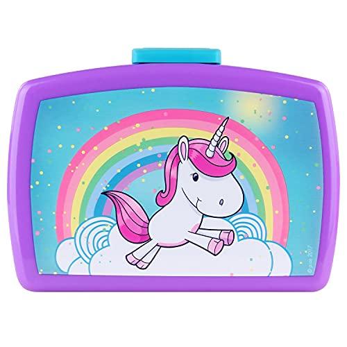 P:os 27558 - Fiambrera infantil con inserto en colorido diseño de unicornio, aprox. 16x 12x 6,5cm, de plástico, sin...