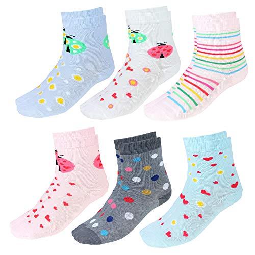 TupTam Kinder Unisex Socken Bunt Gemustert 6er Pack, Farbe: Mädchen 8, Socken Größe: 23-26