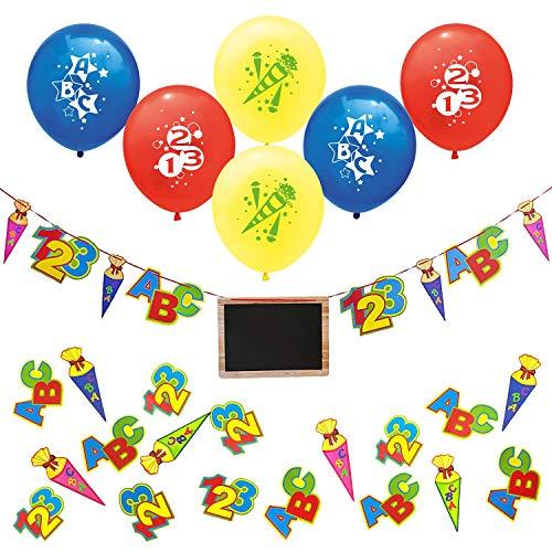 Oblique Unique ABC 123 Sugar Bag Garland with Chalkboard + Balloons + Confetti