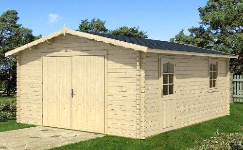 Preisvergleich Produktbild Garage Carport Autogarage Satteldachgarage Blockhaus 470 cm x 570 cm - 40mm Blockhaus-Garage