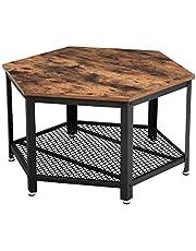 VASAGLE Vintage stolik do salonu, stolik kawowy z dużym miejscem do przechowywania, stolik kawowy, do salonu lub biura, solidny, z metalową ramą i półką kratową, sześciokątny, wyglądający jak drewno LCT16X