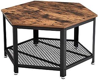VASAGLE Table Basse Vintage, Table d'appoint, Table de Salon, Armature métallique Stable, Étagère de Rangement en Treilli...