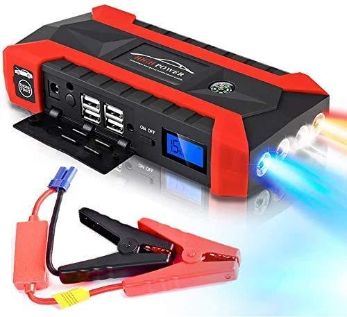 HSKB Starthilfe Powerbank, 6 IN I Multifunktions-Starthilfe 20000mAh 12V LCD 4 USB Auto Starthilfe Booster Ladegerät Batterieleistung Bank mit DREI-Licht-Modus Anzug für die meisten Cartypes