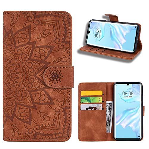 EUDTH Huawei P30 Pro Hülle, Case [3D Geprägtem Blumenmuster] Magnetische Klapphülle [ Kartenfächer & Ständer ] Leder Tasche Brieftasche Handyhülle für Huawei P30 Pro - Braun